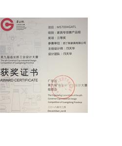 MS7004 Design award certificate